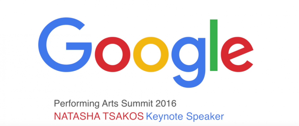 Google logo with title that reads performing arts summit 2016