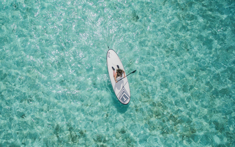 Aerial view of woman paddle boarding on blue waters