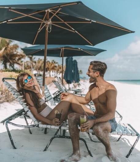 Couple on beach chairs