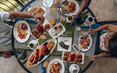 Overhead shot of table with food