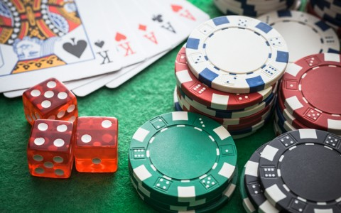 casino chips dice and cards
