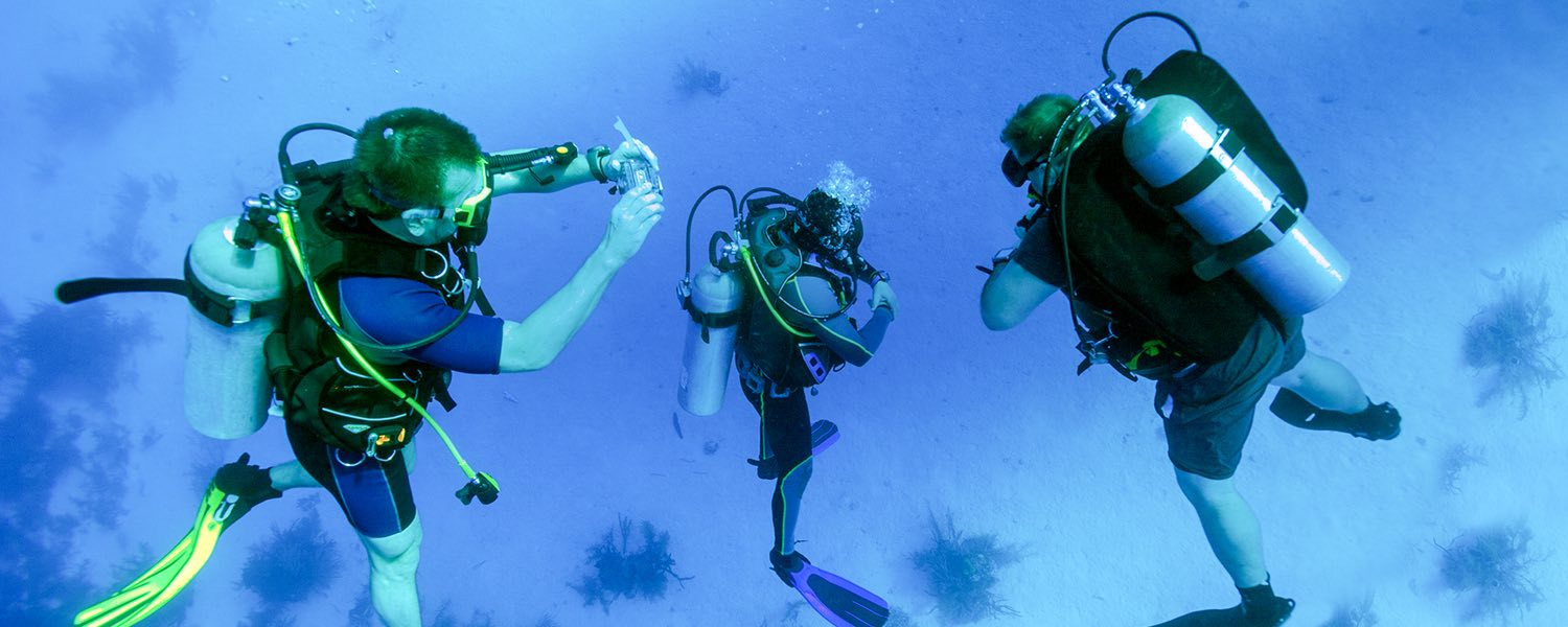scuba diver taking an underwater photo of two other scuba divers