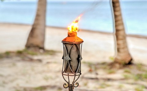 a tiki torch lit on the beach