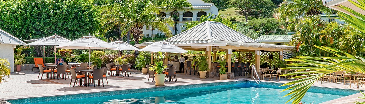 pool area with patio seating, umbrellas, and a covered outdoor bar