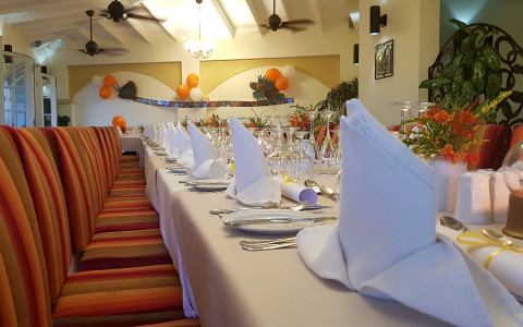 a long dining table set for a birthday celebration with red striped chairs and decorative table napkins at each seating place