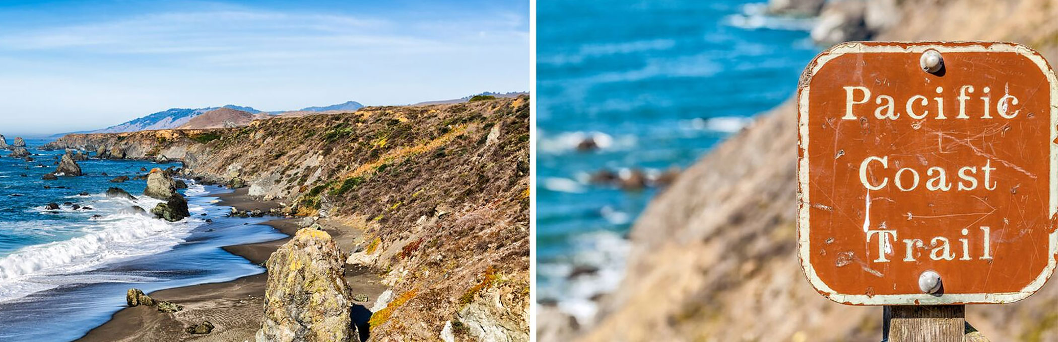 Split image with waves crashing on rocky shore & brown sign that reads pacific coast trail