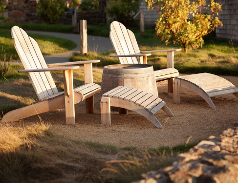 White wooden loungers outdoors