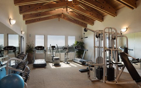 Fitness center with machines, mirror & wooden ceiling