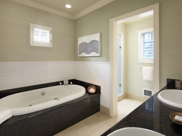 Full bathroom with whirlpool tub, granite vanity with double sink & shower