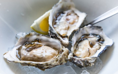 three shucked oysters on a bed of ice with a lemon slice
