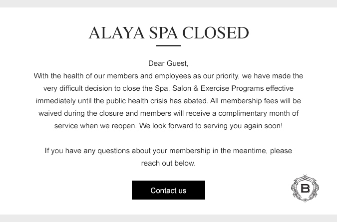 Alaya Spa Closure