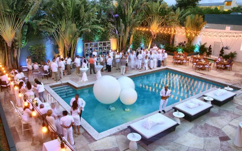 pool set up for an all white event