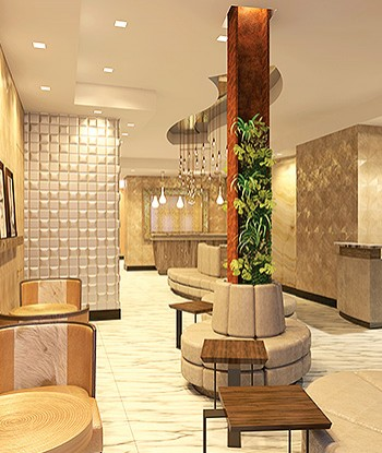 Neutral colored Artezen lobby with hanging light fixtures