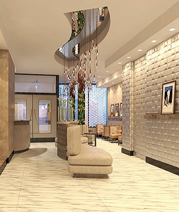 Artezen lobby with hanging light fixtures, art on walls and seating areas
