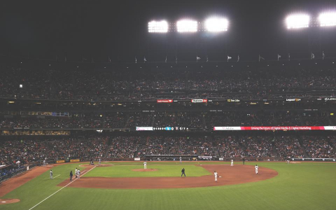 Baseball Stadium at Night with fans in the stands and bright lights