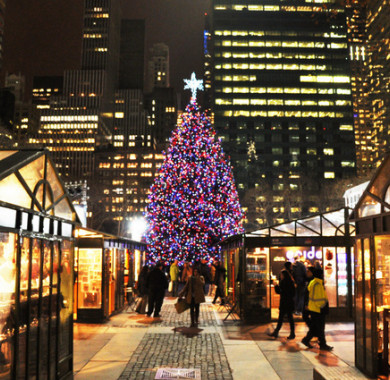 Bryant Park Winter Village shops and christmas tree in the centre