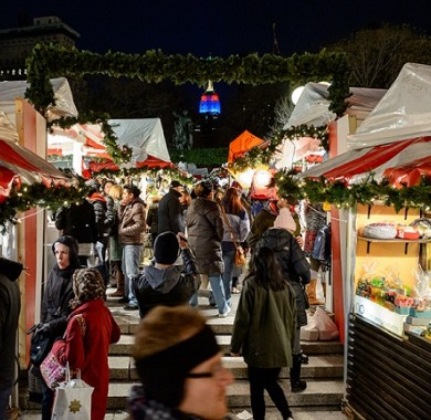 People shopping and walking through the Holiday Market at Union Square