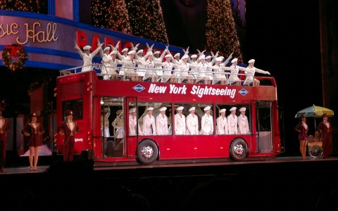 Rockettes on Double Decker Bus for Christmas Spectacular