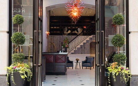 hotel entrance with double glass doors