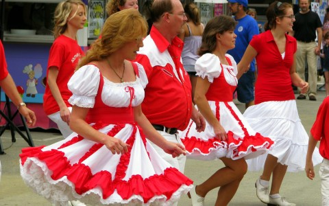 Cloggers performing on street