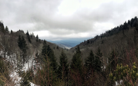 smokey mountains with snow on them