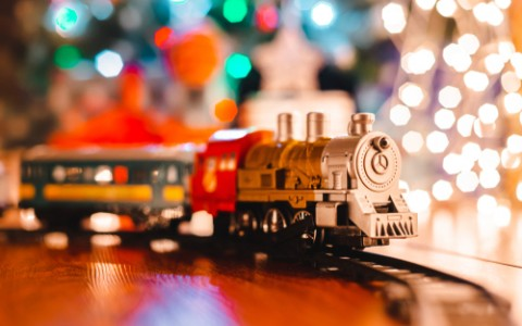 toy train and holiday lights