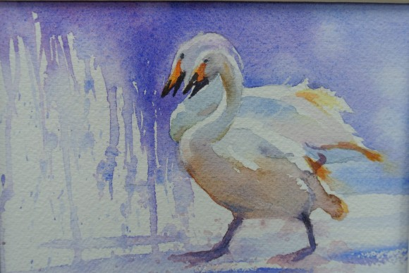 painting of two upright swans against a blue and white background