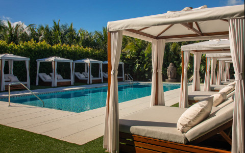 Cabanas by a pool