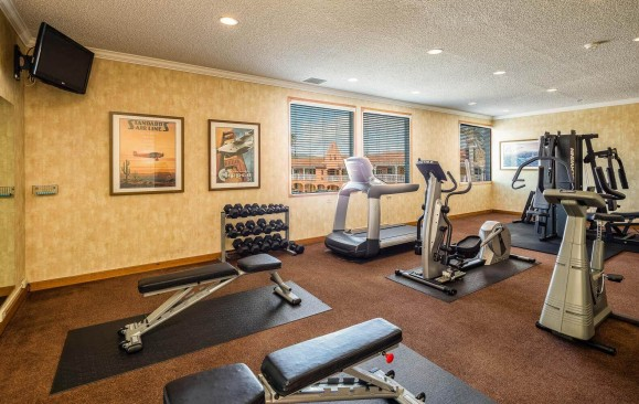 Gym with free weight selection, benches for weightlifting, elliptical, treadmill, and a bike