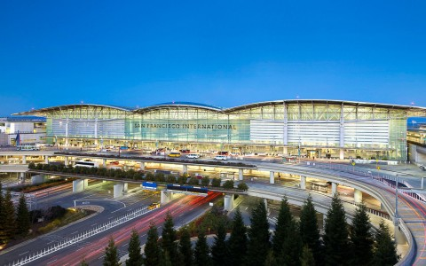 Front view of the San Francisco International airport