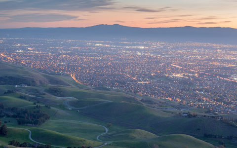 San Mateo County, Silicon Valley and Green Hills At Dusk