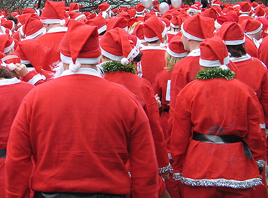Crowd of people dressed like Santa Claus
