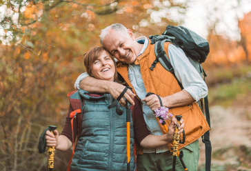older couple hiking together