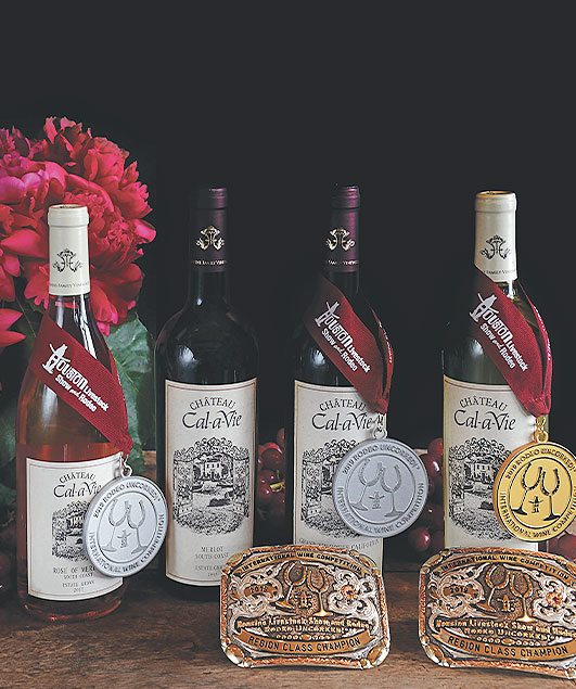 cal a vie wine bottles with award medals