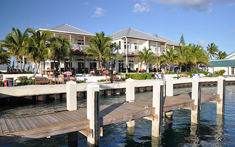 exterior shot of boat dock and patio