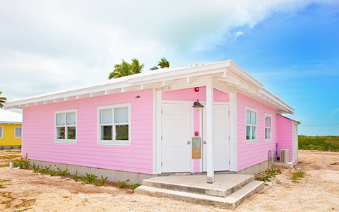 exterior shot of pink building