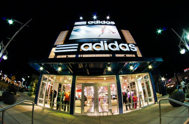 adidas store front at night