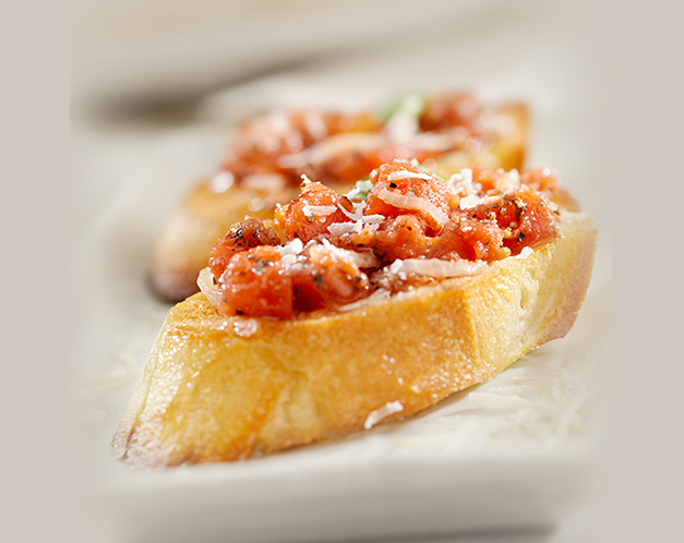 tomato bruchetta on a slice of bread