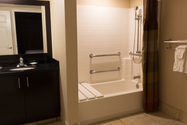 bathroom with accessible shower