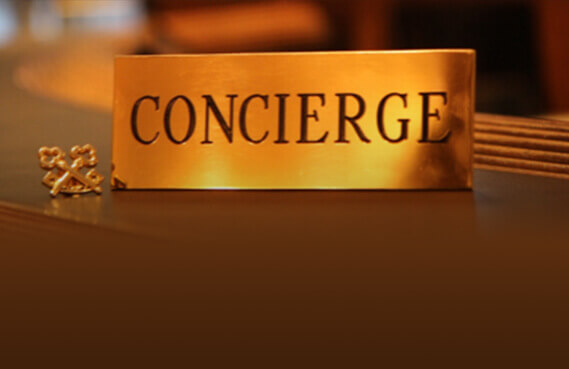 concierge plaque on desk