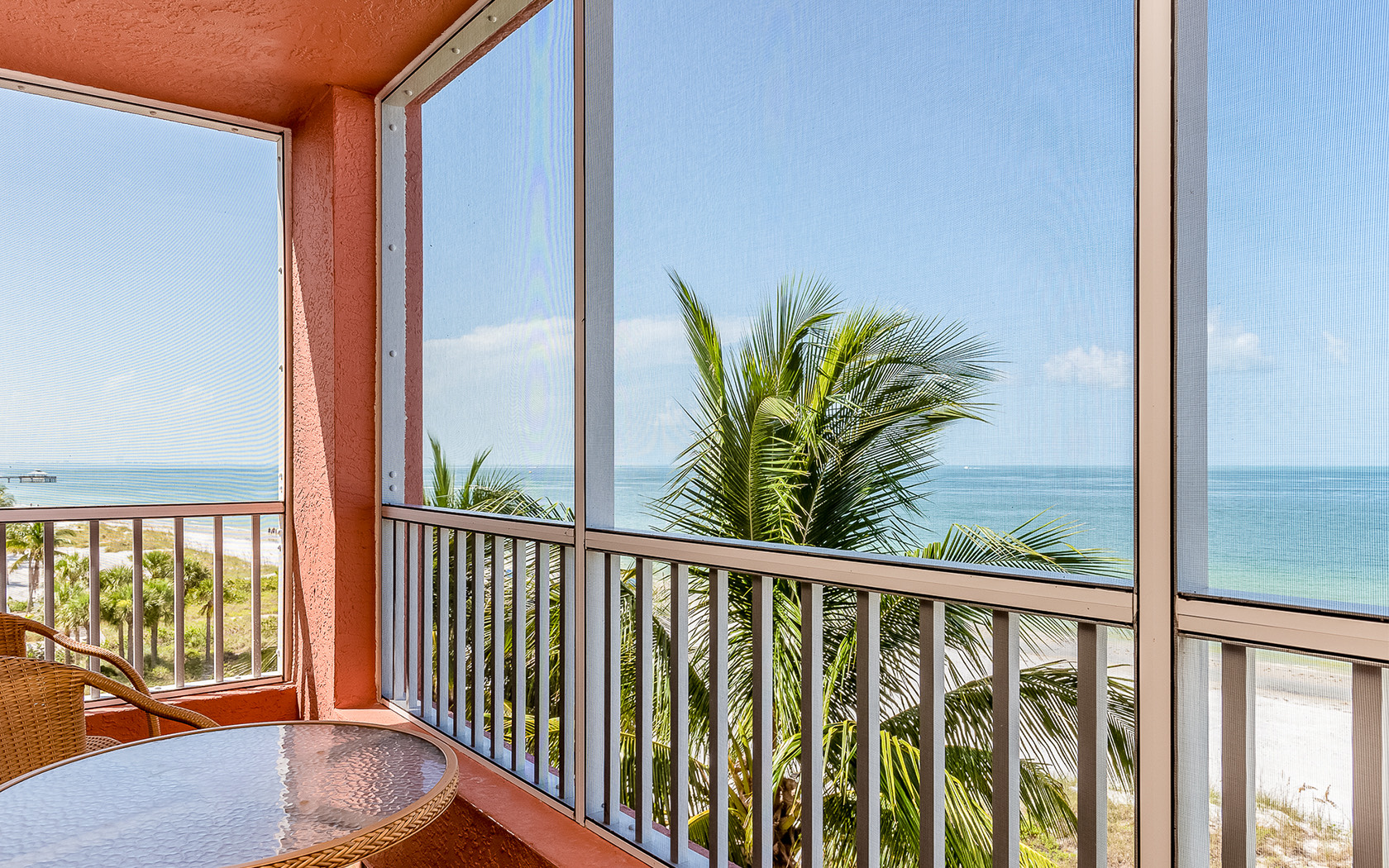Casa Play Resort Gulfview balcony with dark pink walls