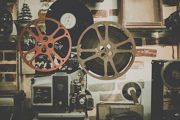 old film reel and projector