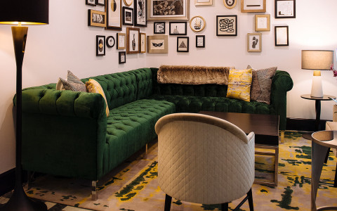 vintage green sofa sitting area