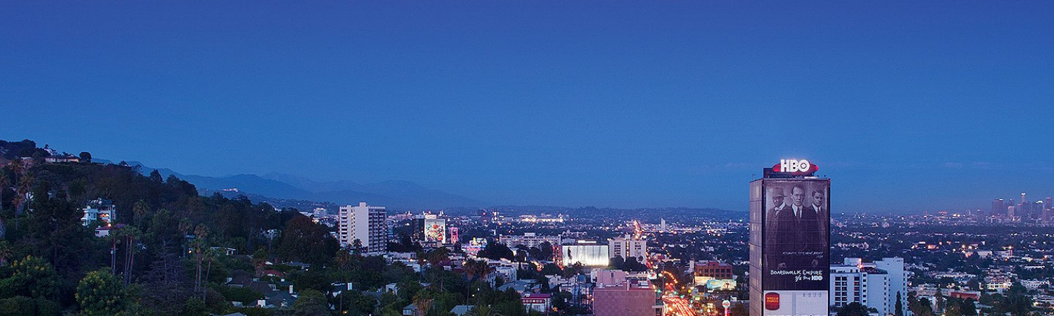 evening aerial view of west hollywood