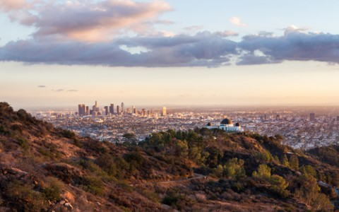 view of downtown la and griffith park