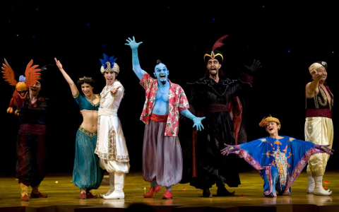 Cast of Aladdin the musical onstage
