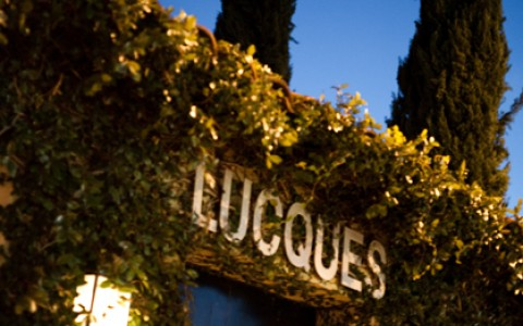 Lucques restaurant exterior with vines