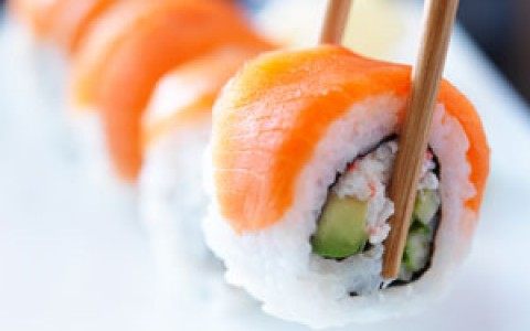 close up shot of a sushi roll