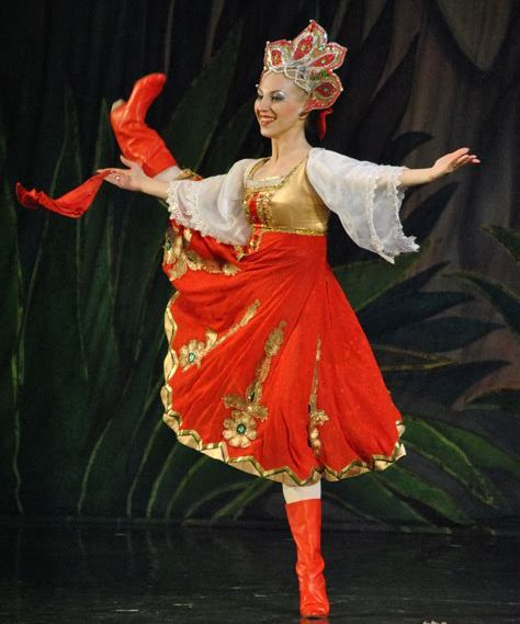 Moscow Ballet Dancer in Russian Costume Version of The Nutcracker