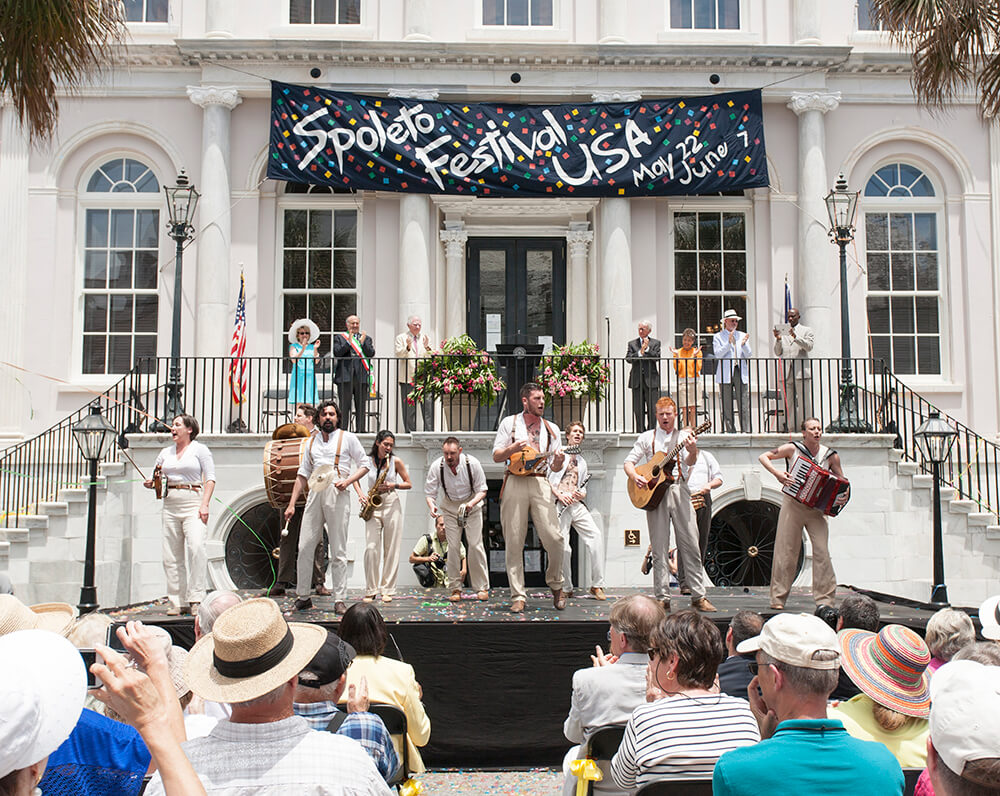 Spoleto Festival USA on steps of historic building